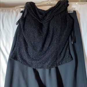 Black beaded backless top and long crepe skirt